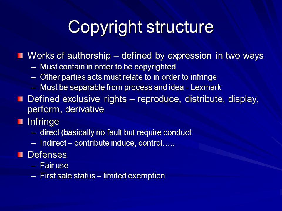 Copyright structure Works of authorship – defined by expression in two ways –Must contain in order to be copyrighted –Other parties acts must relate to in order to infringe –Must be separable from process and idea - Lexmark Defined exclusive rights – reproduce, distribute, display, perform, derivative Infringe –direct (basically no fault but require conduct –Indirect – contribute induce, control…..