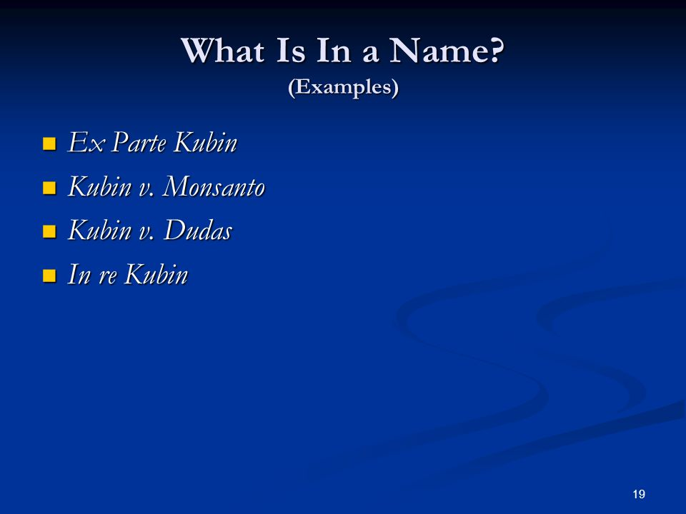 19 What Is In a Name. (Examples) Ex Parte Kubin Ex Parte Kubin Kubin v.