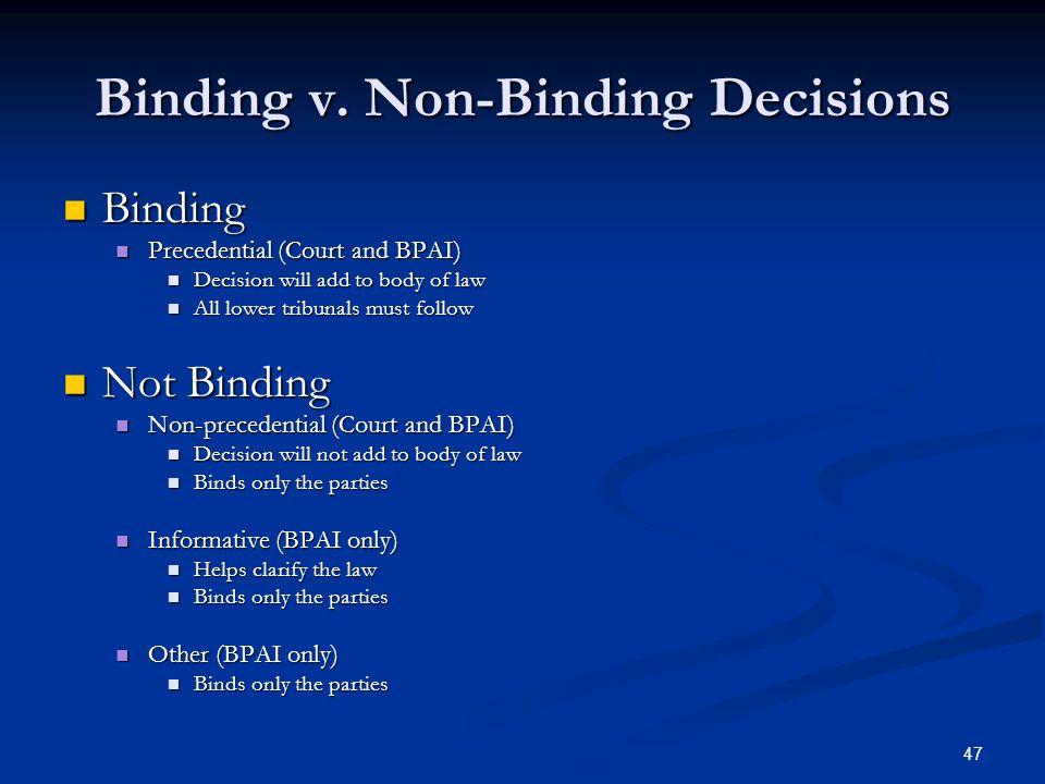 47 Binding v. Non-Binding Decisions Binding Binding Precedential (Court and BPAI) Precedential (Court and BPAI) Decision will add to body of law Decis