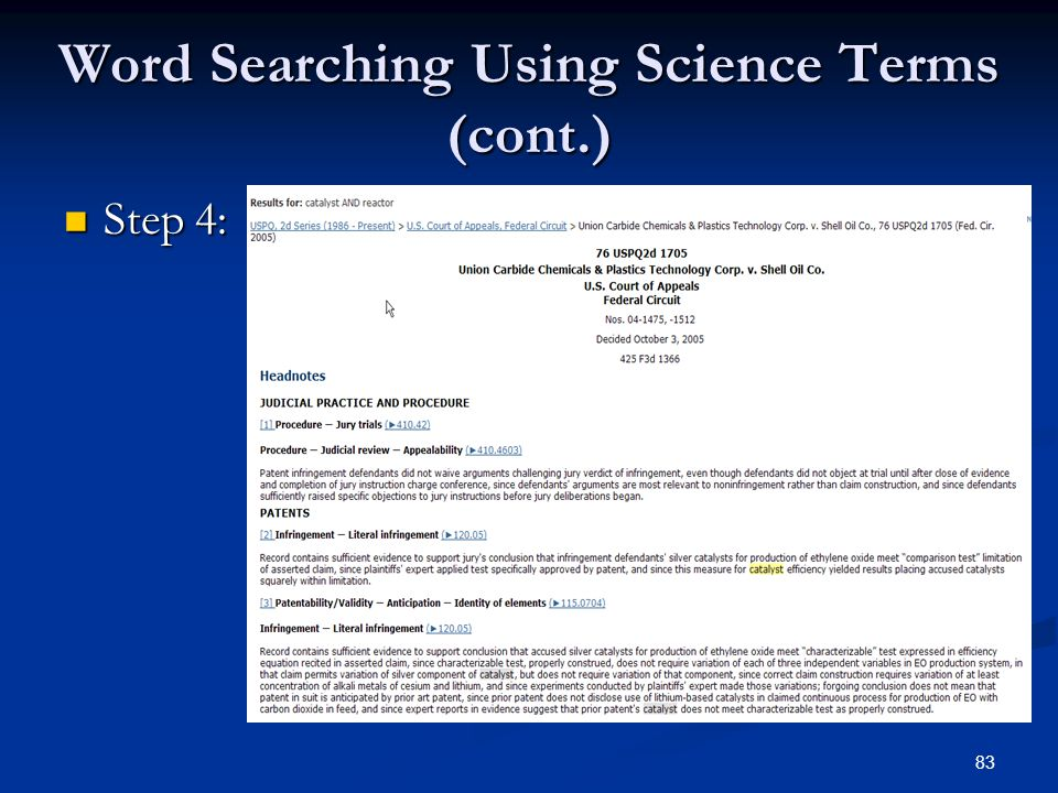 83 Word Searching Using Science Terms (cont.) Step 4: Step 4: