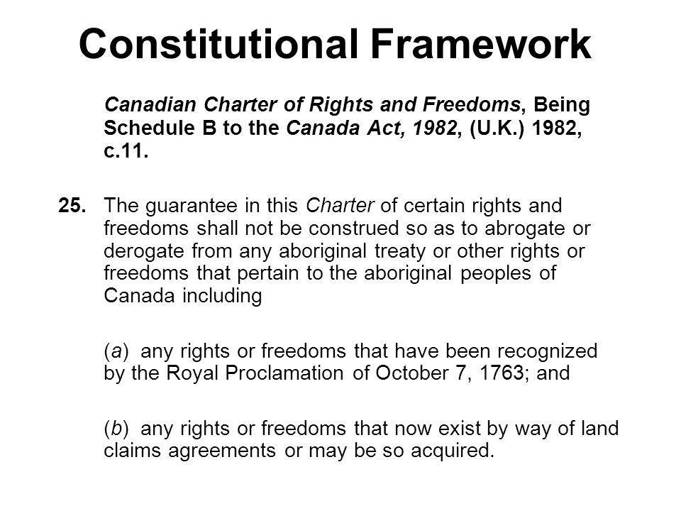 Constitutional Framework Canadian Charter of Rights and Freedoms, Being Schedule B to the Canada Act, 1982, (U.K.) 1982, c.11. 25.The guarantee in thi