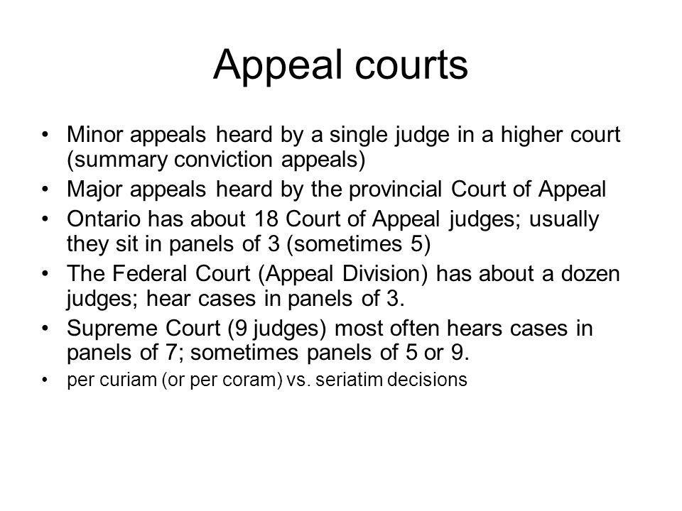 Appeal courts Minor appeals heard by a single judge in a higher court (summary conviction appeals) Major appeals heard by the provincial Court of Appe