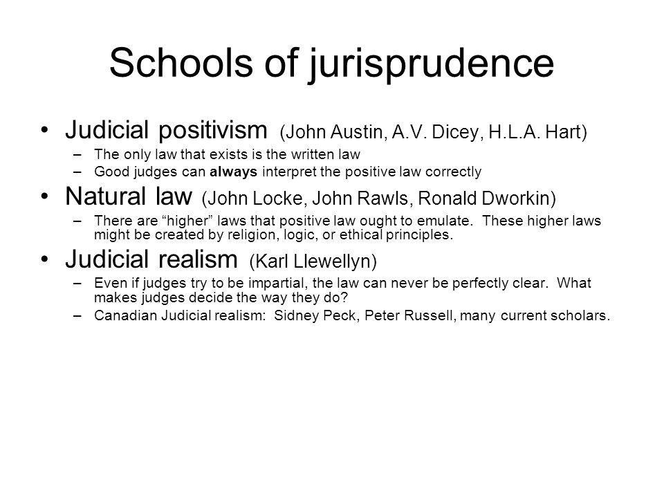 Schools of jurisprudence Judicial positivism (John Austin, A.V. Dicey, H.L.A. Hart) –The only law that exists is the written law –Good judges can alwa