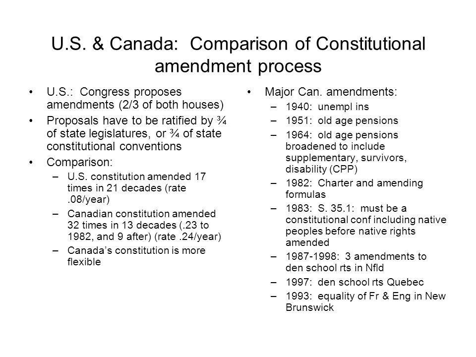 U.S. & Canada: Comparison of Constitutional amendment process U.S.: Congress proposes amendments (2/3 of both houses) Proposals have to be ratified by