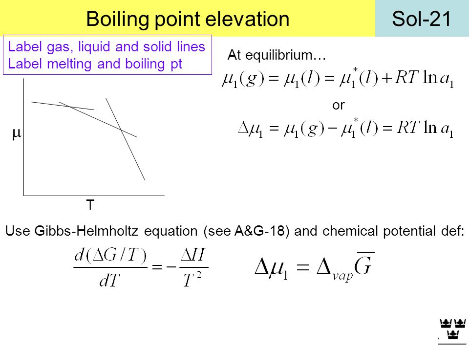 Sol-21Boiling point elevation At equilibrium… or Use Gibbs-Helmholtz equation (see A&G-18) and chemical potential def: T Label gas, liquid and solid l