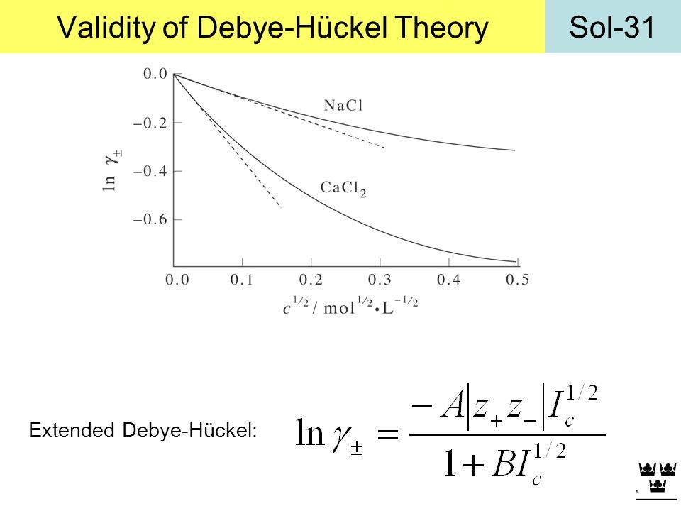 Sol-31Validity of Debye-Hückel Theory Extended Debye-Hückel: