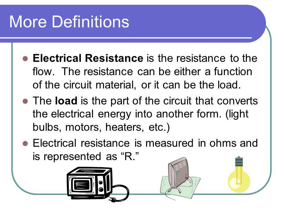 Ohms Law Restated Another way to state Ohms law is: Potential (volts) equals current (amps) times the load (ohms).