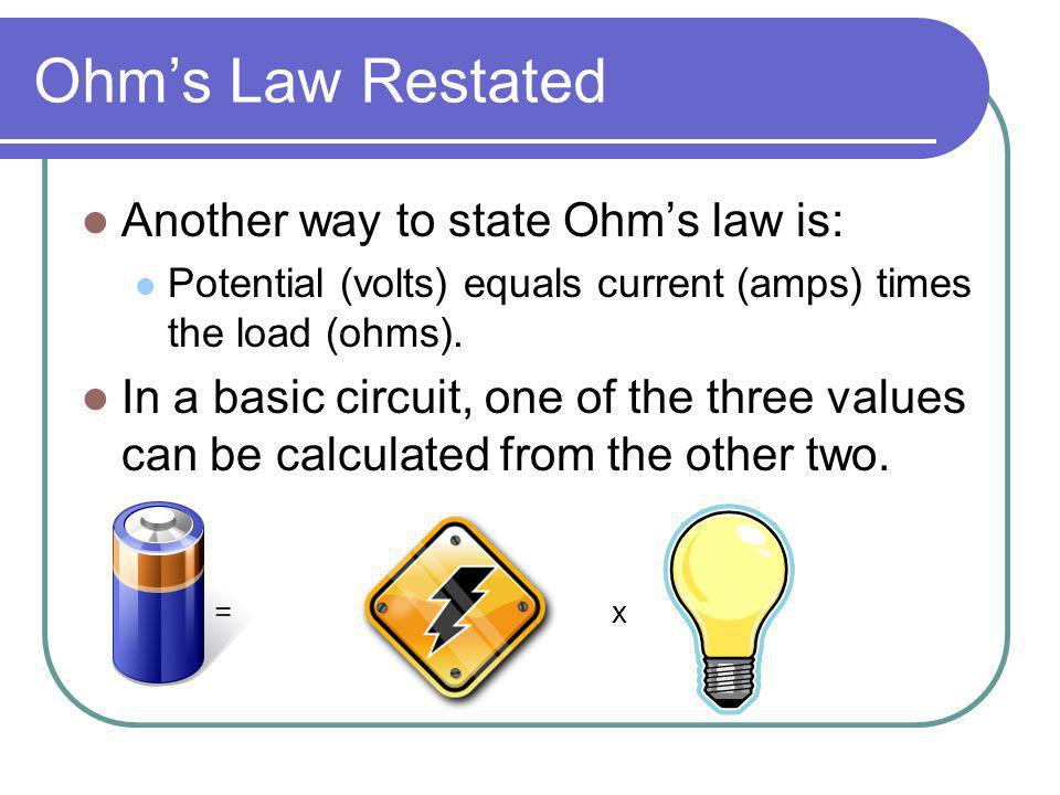 Ohms Law Restated Another way to state Ohms law is: Potential (volts) equals current (amps) times the load (ohms). In a basic circuit, one of the thre