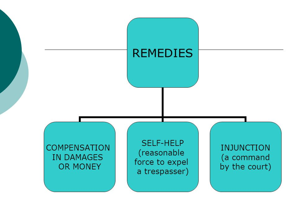 REMEDIES COMPENSATION IN DAMAGES OR MONEY SELF-HELP (reasonable force to expel a trespasser) INJUNCTION (a command by the court)