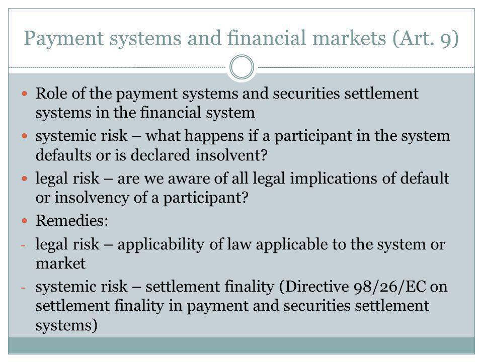 Payment systems and financial markets (Art.