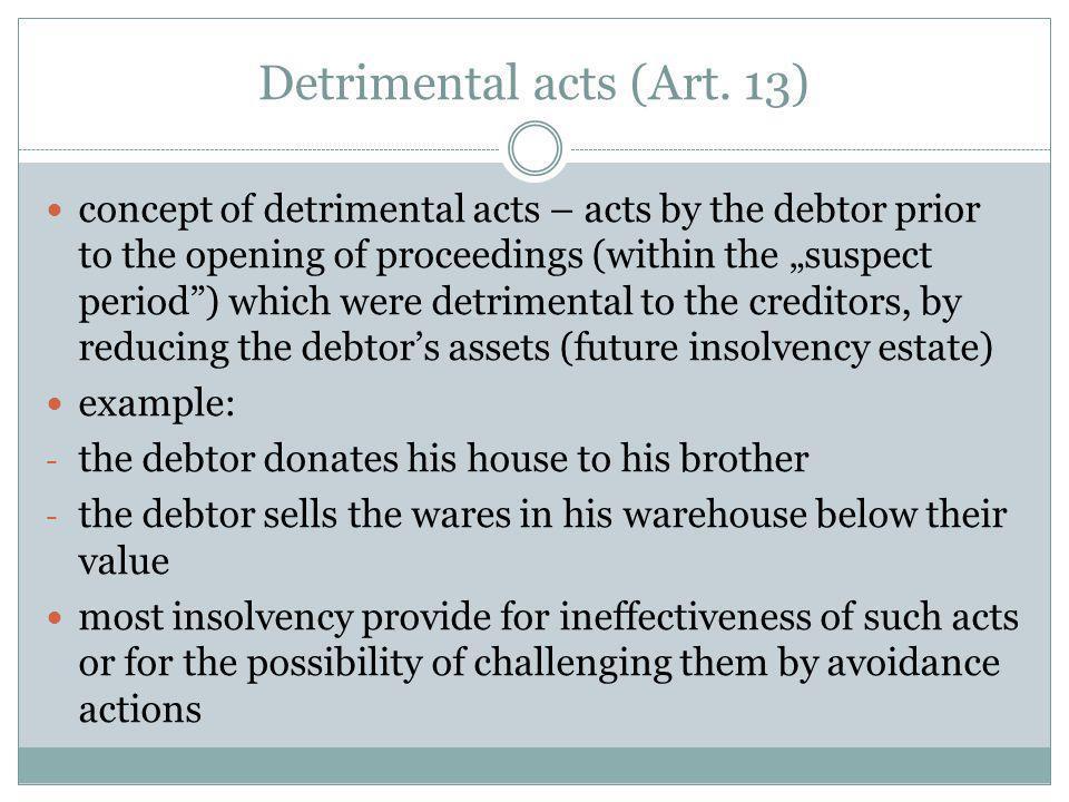 Detrimental acts (Art.13) principle: lex fori concursus applies (Art.