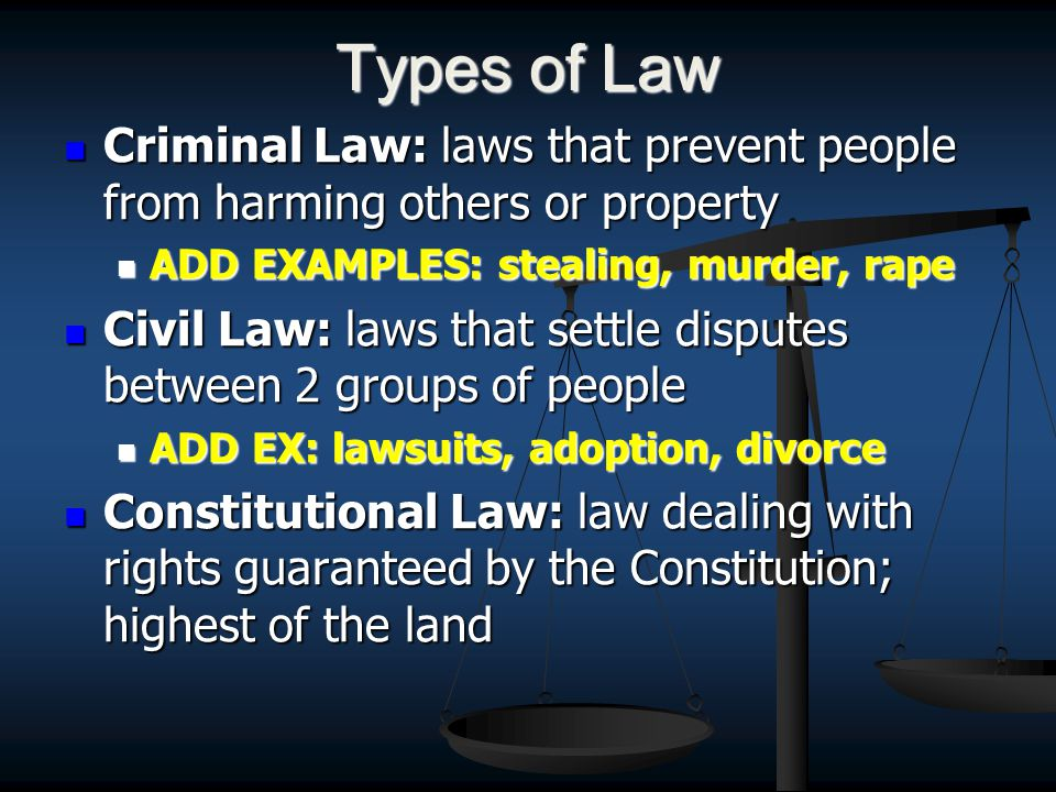 Types of Law Criminal Law: laws that prevent people from harming others or property Criminal Law: laws that prevent people from harming others or property ADD EXAMPLES: stealing, murder, rape ADD EXAMPLES: stealing, murder, rape Civil Law: laws that settle disputes between 2 groups of people Civil Law: laws that settle disputes between 2 groups of people ADD EX: lawsuits, adoption, divorce ADD EX: lawsuits, adoption, divorce Constitutional Law: law dealing with rights guaranteed by the Constitution; highest of the land Constitutional Law: law dealing with rights guaranteed by the Constitution; highest of the land