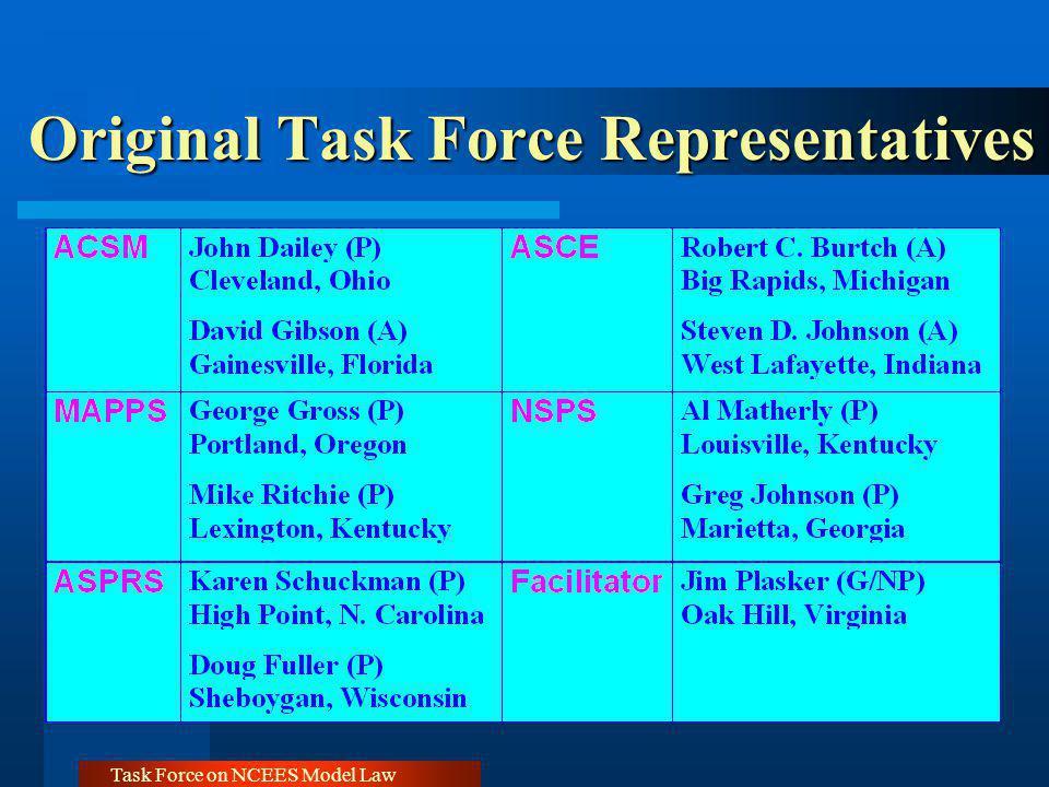 Task Force on NCEES Model Law Original Task Force Representatives