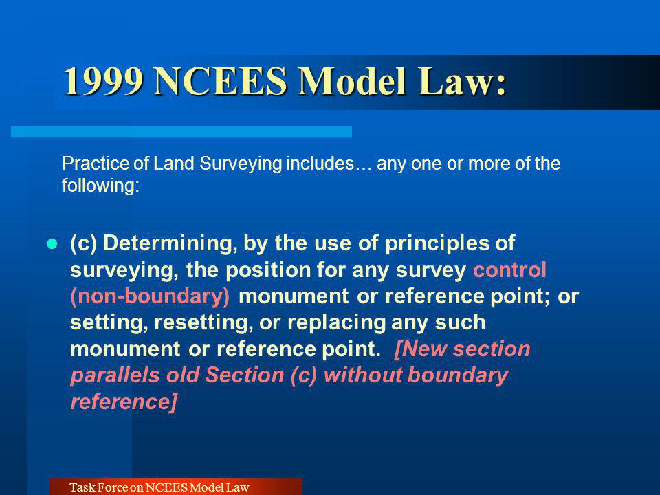 Task Force on NCEES Model Law 1999 NCEES Model Law: 1999 NCEES Model Law: Practice of Land Surveying includes… any one or more of the following: (c) Determining, by the use of principles of surveying, the position for any survey control (non-boundary) monument or reference point; or setting, resetting, or replacing any such monument or reference point.
