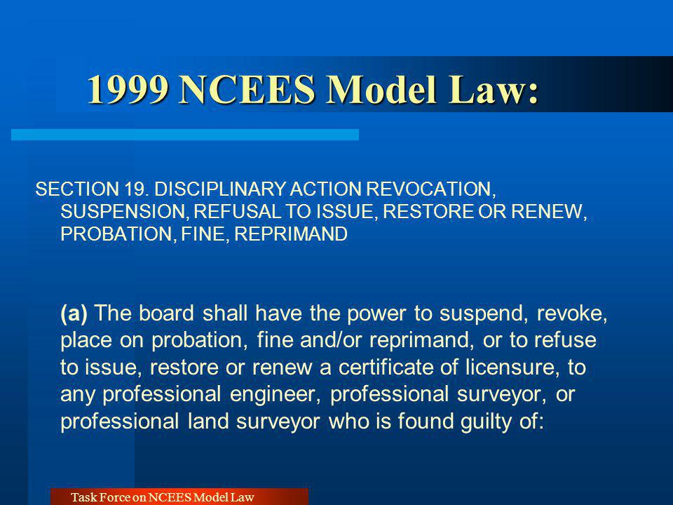 Task Force on NCEES Model Law 1999 NCEES Model Law: 1999 NCEES Model Law: SECTION 19. DISCIPLINARY ACTION REVOCATION, SUSPENSION, REFUSAL TO ISSUE, RE