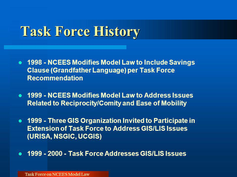 Task Force on NCEES Model Law Recommendations - Recommendations - Grandfathering Adopt Uniform Guidelines Accomplished During 1998 Annual Meeting