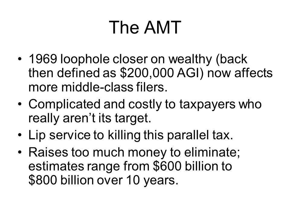 The AMT 1969 loophole closer on wealthy (back then defined as $200,000 AGI) now affects more middle-class filers.