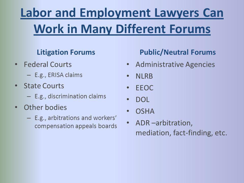 Labor and Employment Lawyers Can Work in Many Different Forums Litigation Forums Federal Courts – E.g., ERISA claims State Courts – E.g., discrimination claims Other bodies – E.g., arbitrations and workers compensation appeals boards Public/Neutral Forums Administrative Agencies NLRB EEOC DOL OSHA ADR –arbitration, mediation, fact-finding, etc.