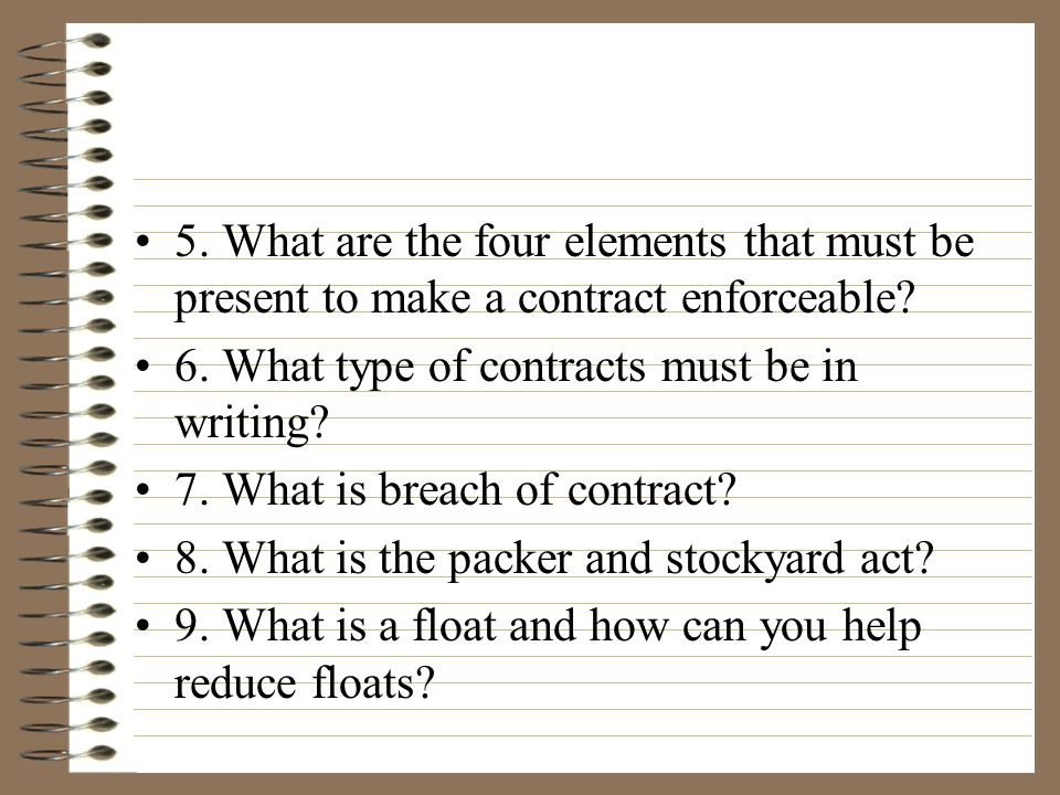 5.What are the four elements that must be present to make a contract enforceable.
