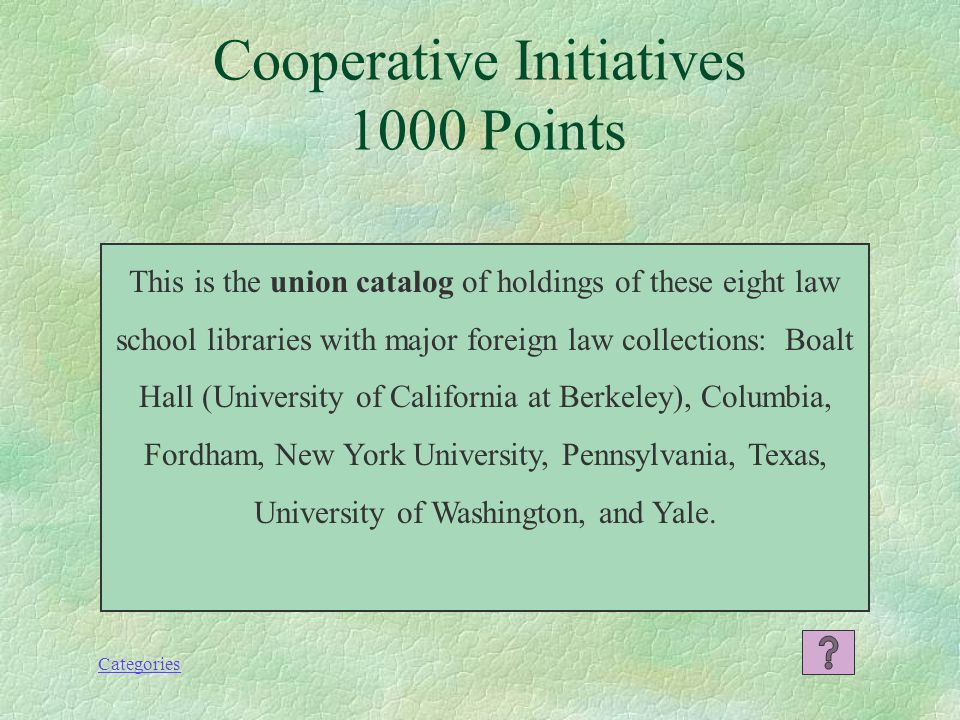 Categories What is the Foreign Law Guide or FLAG? Cooperative Initiatives 800 Points