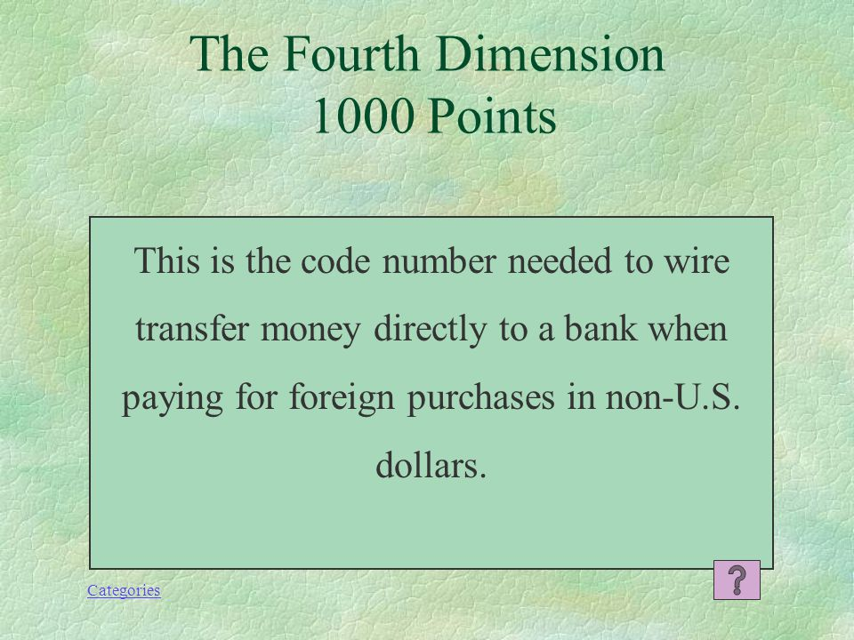 Categories What is Amazon? The Fourth Dimension 800 Points