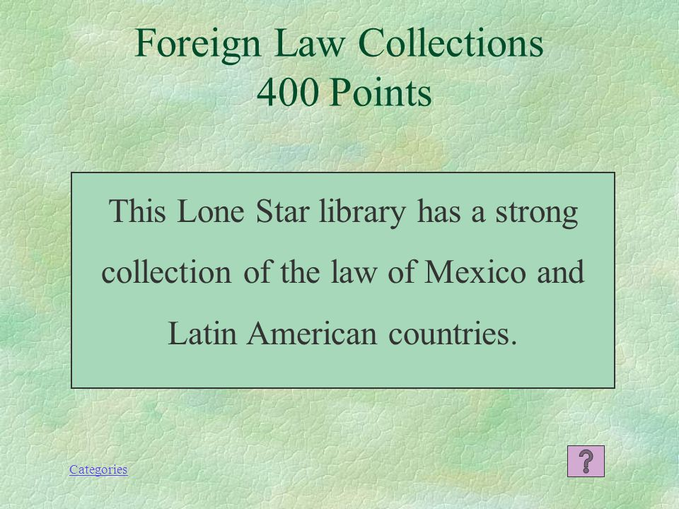Categories Foreign Law Collections 200 Points What is the Gallagher Law Library at the University of Washington in Seattle?