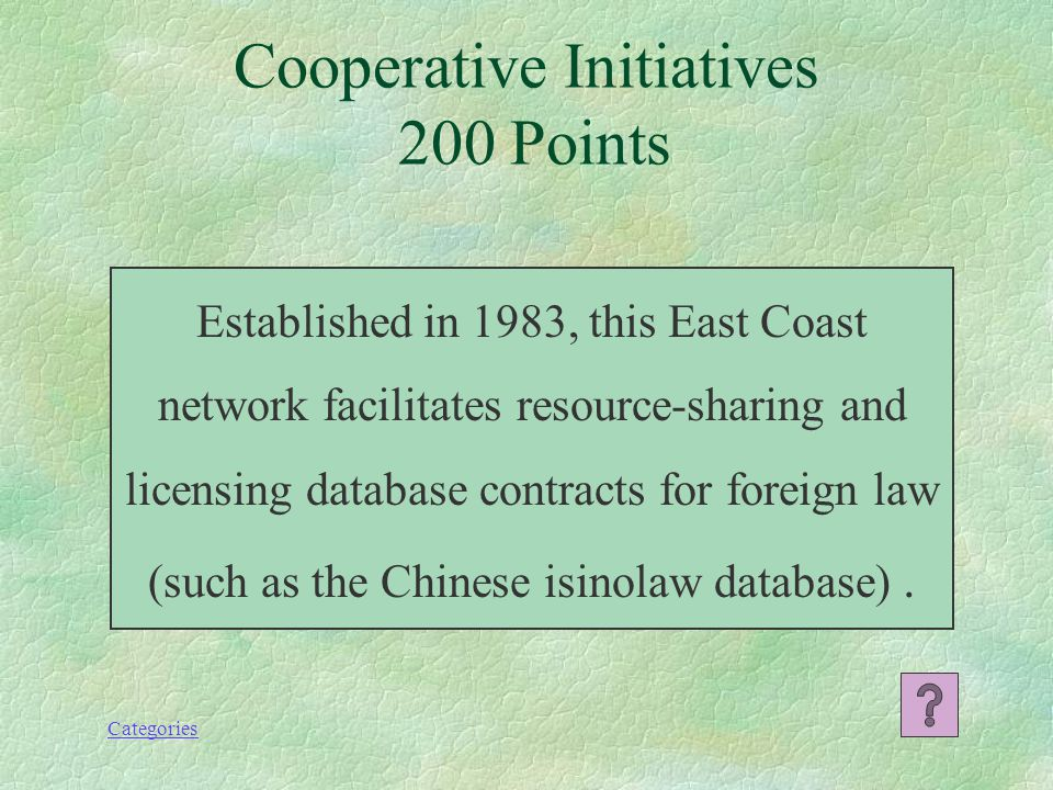 Categories She compiled the Directory of Foreign Law Collections in Selected Law Libraries (along with Tom Bruce) and established the Foreign, Comparative and International Law Special Interest Section (FCIL SIS) travel grants for non-U.S.
