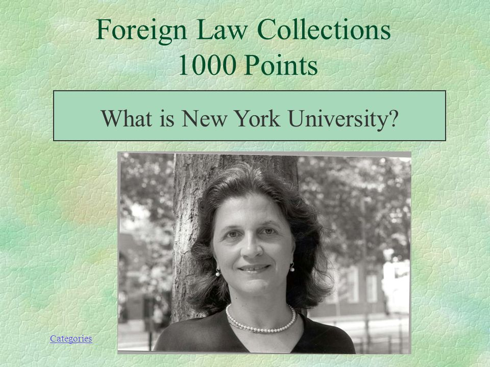 Categories This East Coast institution hosts Mirela Roznovschis links to foreign law databases, and, like Yale, subscribes to Chinese, German, and Israeli law databases.