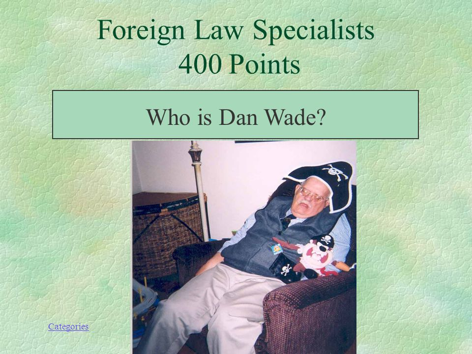 Categories Foreign Law Specialists 400 Points Currently at Yale Law Library, he helped build the foreign law collection at the University of Houston, and authored a chapter on collecting foreign law in Introduction to Foreign Legal Systems (1994).