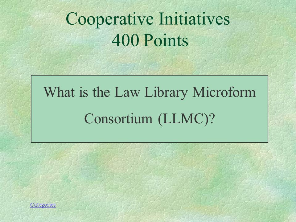 Categories Cooperative Initiatives 400 Points Headed by Jerry Dupont, this cooperative project has microform collections of major French, German, Italian, and Spanish civil law works.