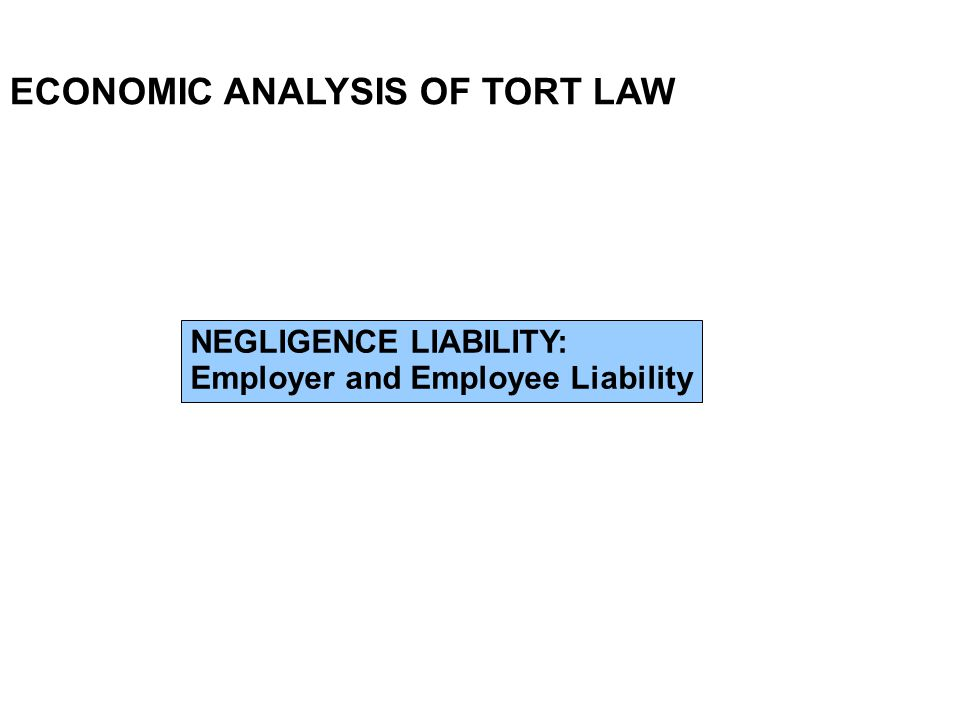 ECONOMIC ANALYSIS OF TORT LAW NEGLIGENCE LIABILITY: Employer and Employee Liability