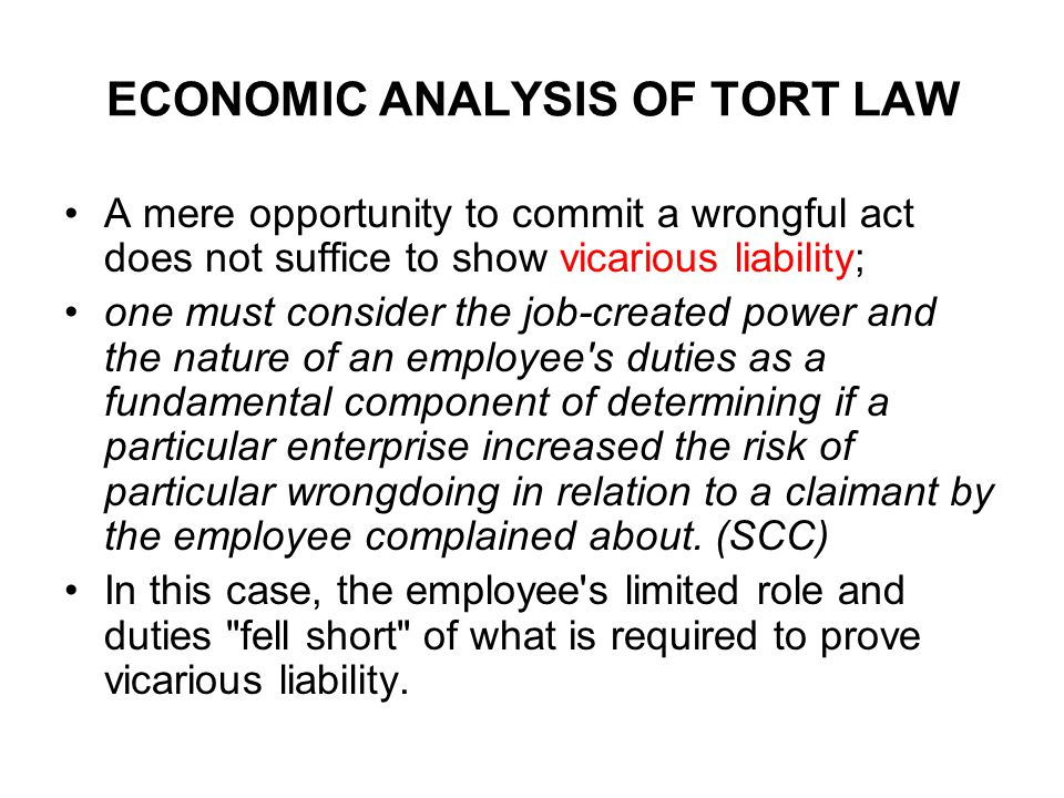 ECONOMIC ANALYSIS OF TORT LAW A mere opportunity to commit a wrongful act does not suffice to show vicarious liability; one must consider the job-created power and the nature of an employee s duties as a fundamental component of determining if a particular enterprise increased the risk of particular wrongdoing in relation to a claimant by the employee complained about.