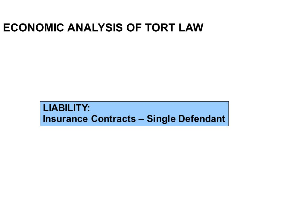 ECONOMIC ANALYSIS OF TORT LAW LIABILITY: Insurance Contracts – Single Defendant