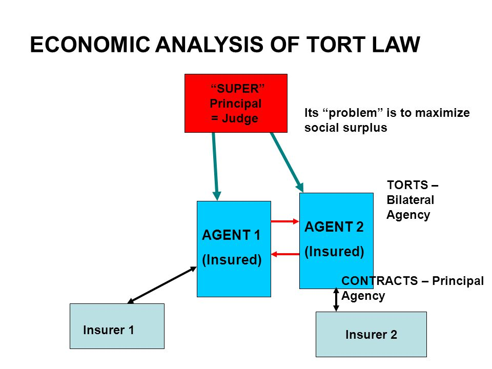 ECONOMIC ANALYSIS OF TORT LAW AGENT 1 (Insured) AGENT 2 (Insured) SUPER Principal = Judge TORTS – Bilateral Agency Its problem is to maximize social surplus Insurer 1 Insurer 2 CONTRACTS – Principal Agency