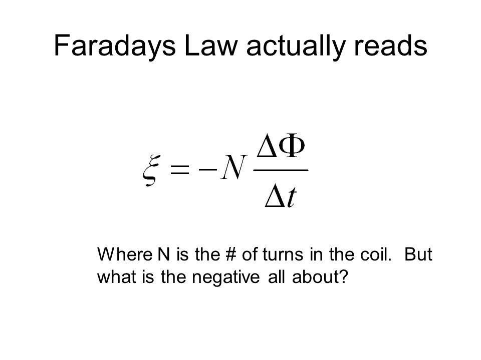 Faradays Law actually reads Where N is the # of turns in the coil. But what is the negative all about?