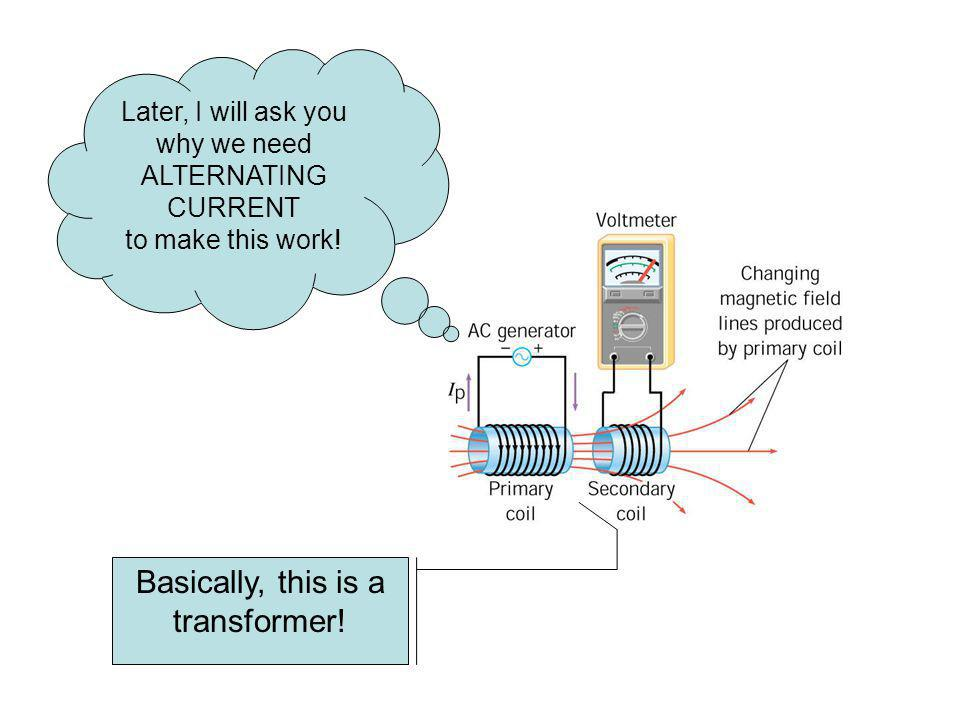Later, I will ask you why we need ALTERNATING CURRENT to make this work! Basically, this is a transformer!