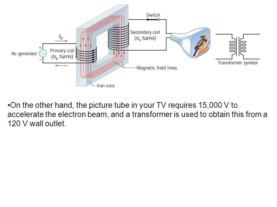 On the other hand, the picture tube in your TV requires 15,000 V to accelerate the electron beam, and a transformer is used to obtain this from a 120