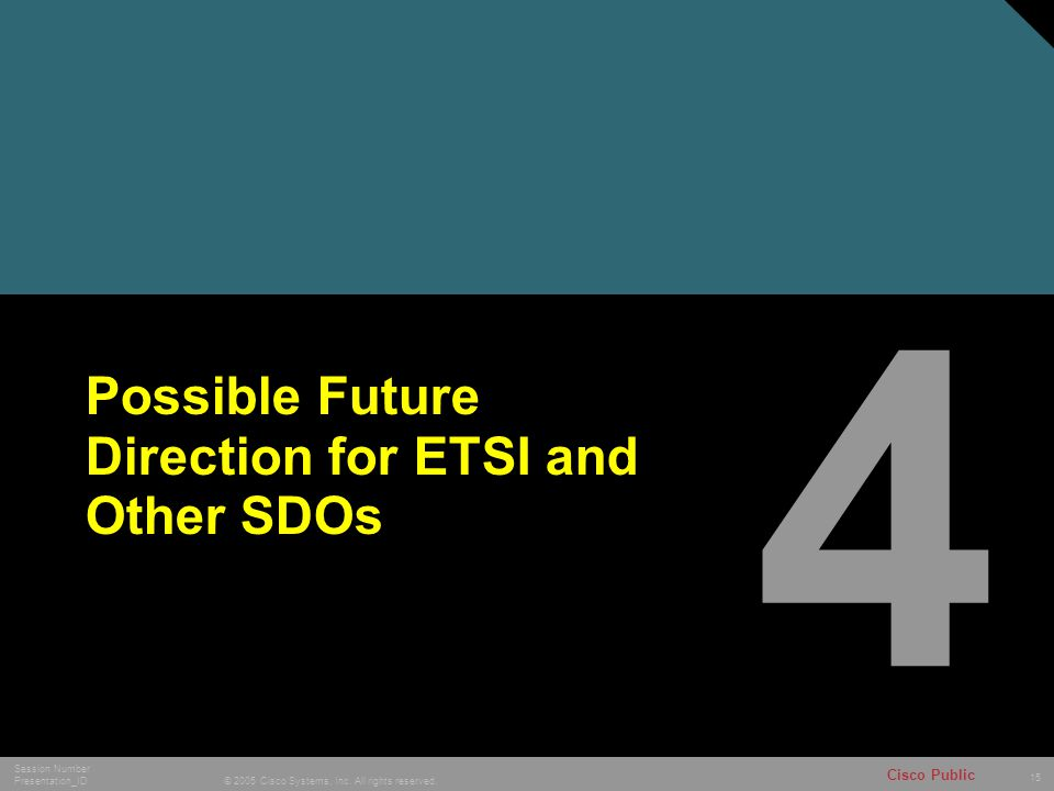 15 © 2005 Cisco Systems, Inc. All rights reserved. Session Number Presentation_ID Cisco Public Possible Future Direction for ETSI and Other SDOs 4