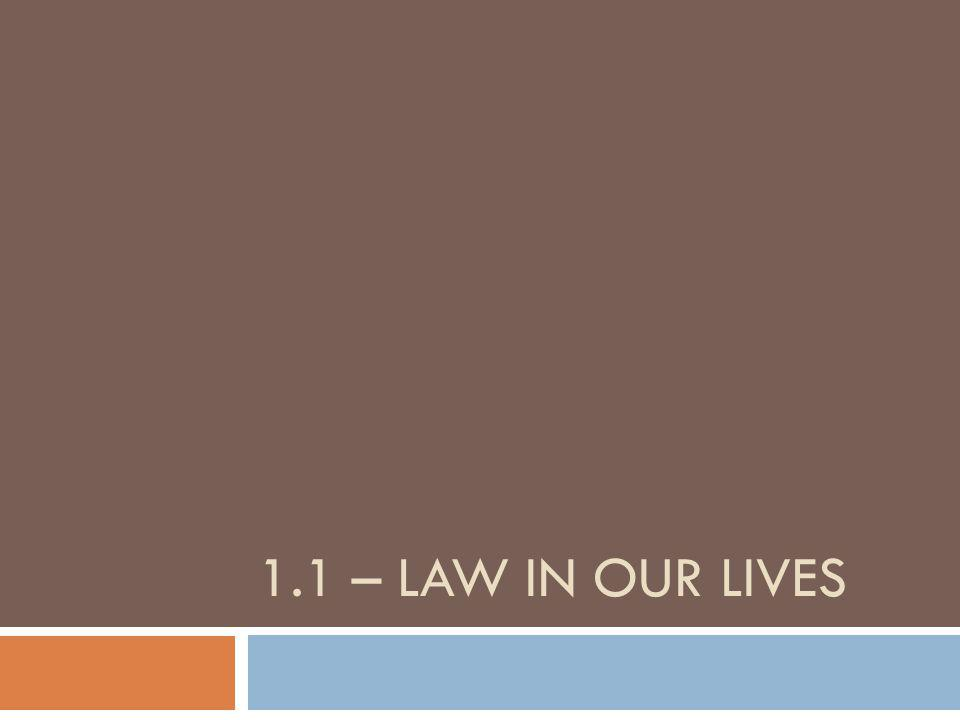 1.1 – LAW IN OUR LIVES