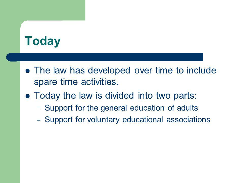 Today The law has developed over time to include spare time activities.