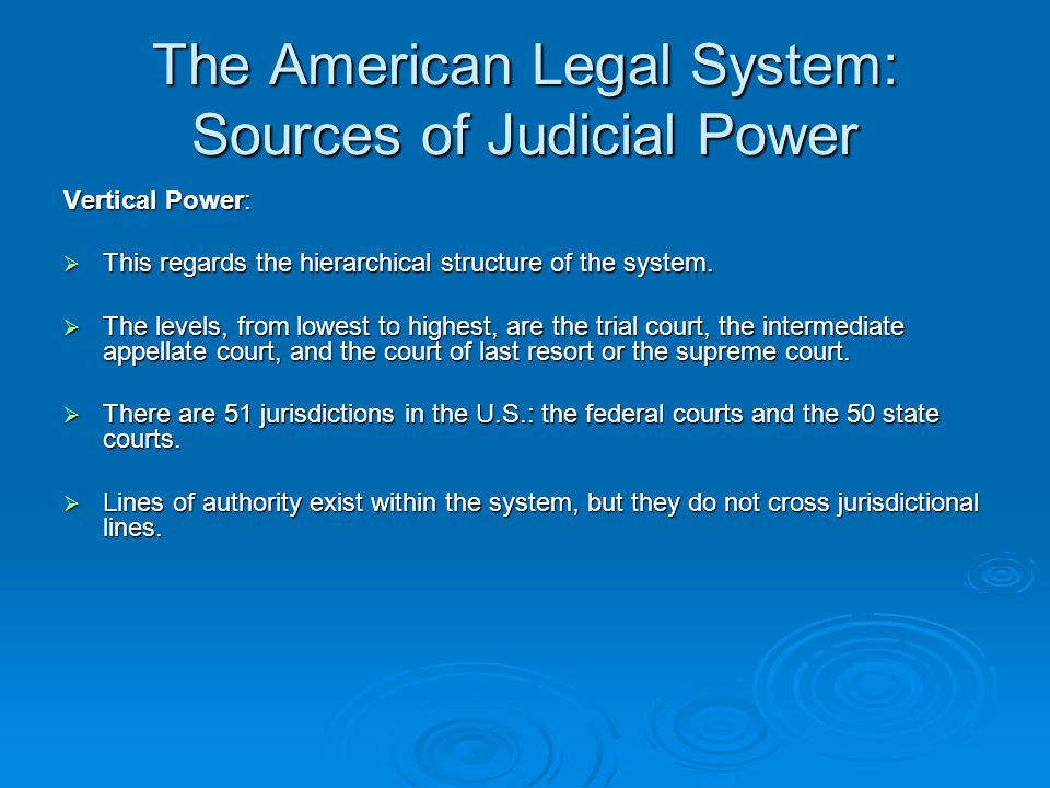 The American Legal System: Court Structure The general model of the hierarchy of courts applies to both the federal system and state jurisdictions.