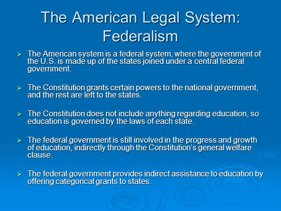 The American Legal System: Sources of Law There are four sources of law, constitutional, statutory, regulatory, and case, all of which exist on the federal and state level.
