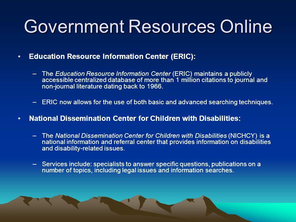 Government Resources Online Cornucopia of Disability Information (CODI) Directory: –Cornucopia of Disability Information (CODI) is an Internet directory of disability information and library of electronic disability documents.