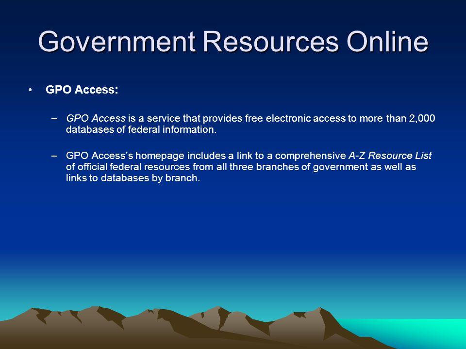 Government Resources Online U.S.