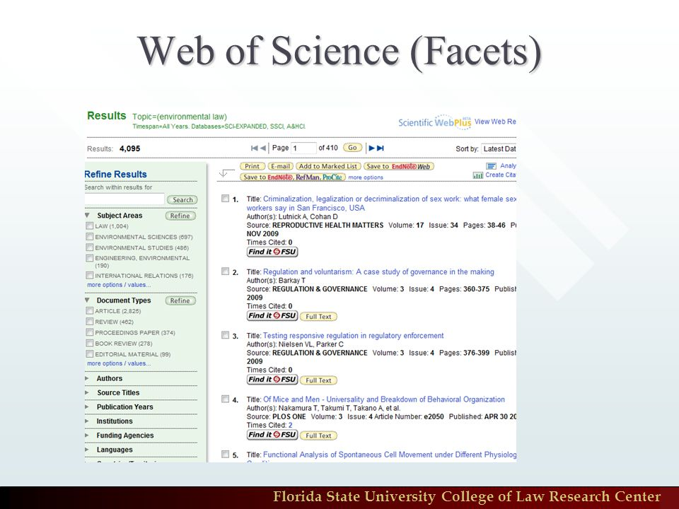 Florida State University College of Law Research Center Web of Science (Facets)