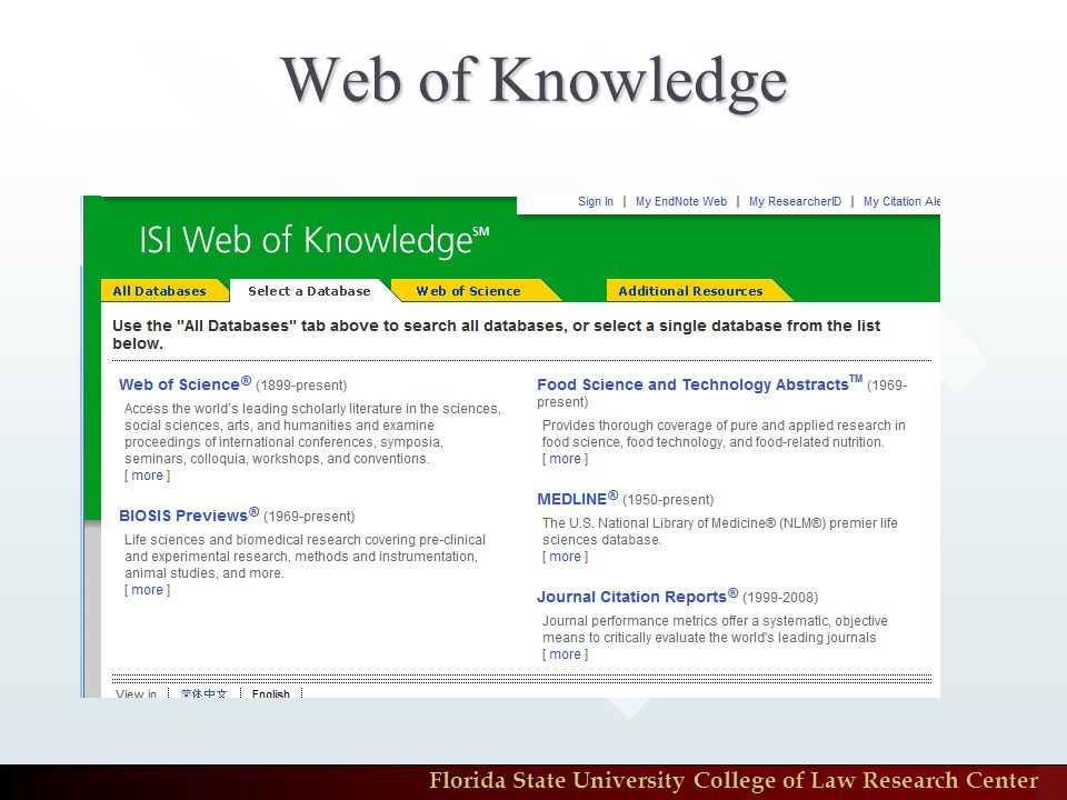 Florida State University College of Law Research Center Web of Knowledge