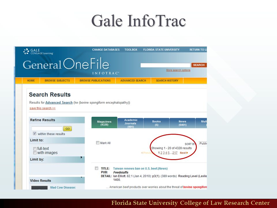 Florida State University College of Law Research Center Gale InfoTrac
