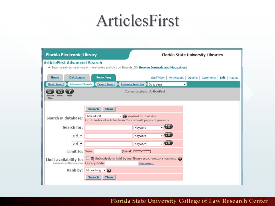 Florida State University College of Law Research Center ArticlesFirst