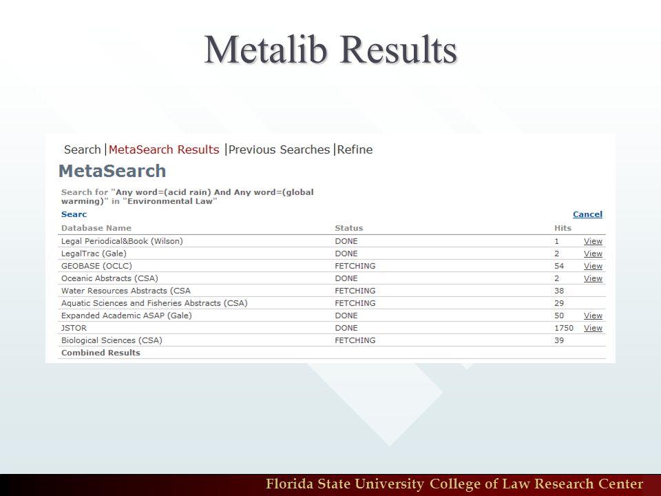 Metalib Results