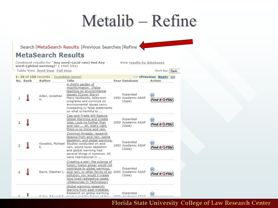 Florida State University College of Law Research Center Metalib – Refine